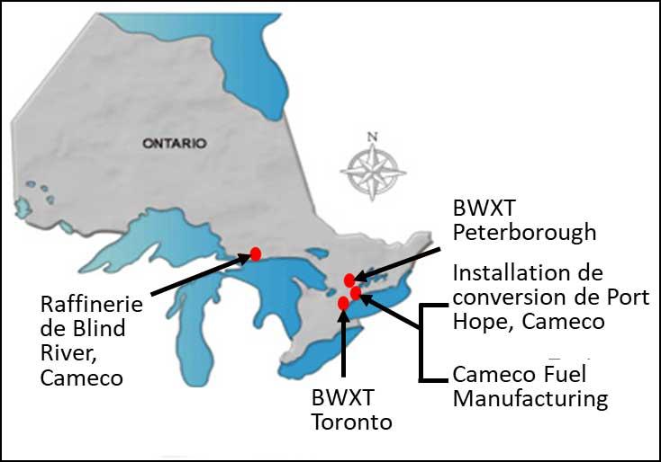Figure 2-1 : Emplacement des installations de traitement de l'uranium en Ontario, au Canada