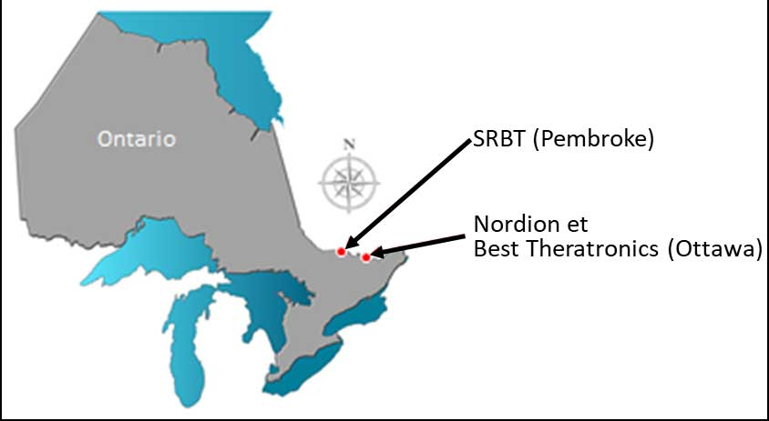 Location of nuclear substance processing facilities in Ontario, Canada