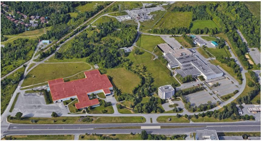 Cette photo montre une vue aérienne de l'installation de BTL, située à Ottawa, en Ontario.