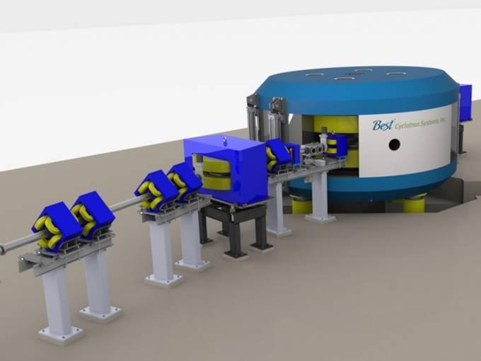 Cette photo montre un cyclotron de 70 MeV fabriqué à l'installation de BTL à Ottawa.