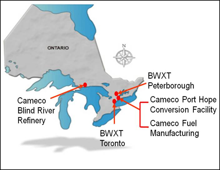 Cette carte illustre l'emplacement de ces installations en Ontario : la raffinerie de Blind River de Cameco, les installations de BWXT Nuclear Energy Canada Inc. à Toronto et Peterborough, l'Installation de conversion de Port Hope de Cameco et Cameco Fuel Manufacturing Inc. également à Port Hope.