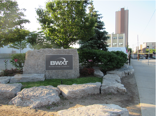 This photo shows a view of the BWXT Nuclear Energy Canada Inc. facility in Toronto, Ontario.