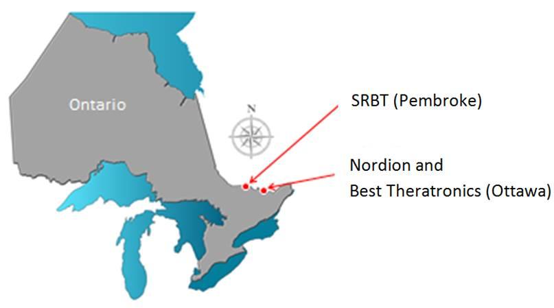Cette carte illustre l'emplacement des installations de traitement des substances nucléaires en Ontario, au Canada : SRB Technologies (Canada) Inc., située à Pembroke; Nordion (Canada) Inc., située à Ottawa; et Best Theratronics Ltd., également à Ottawa.