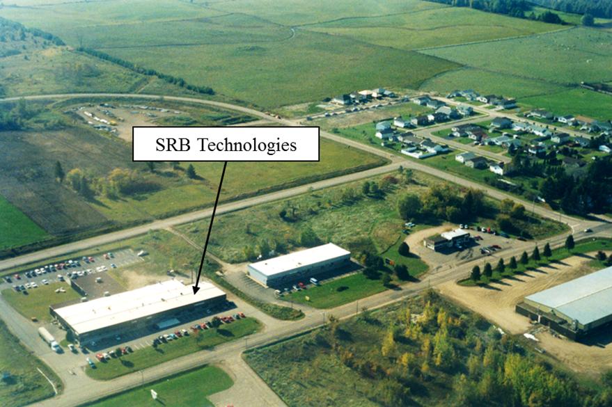 Cette photo montre une vue aérienne de l'installation de SRBT, située à Pembroke, en Ontario.