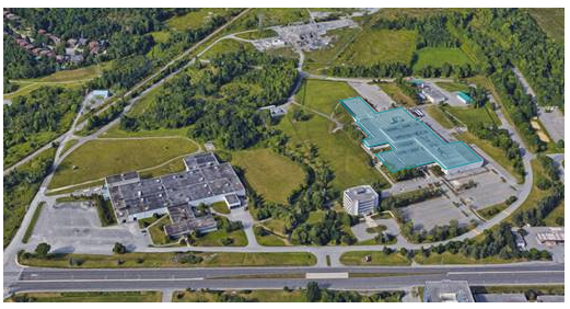 This photo shows an aerial view of the Nordion facility, which is located in Ottawa, Ontario.