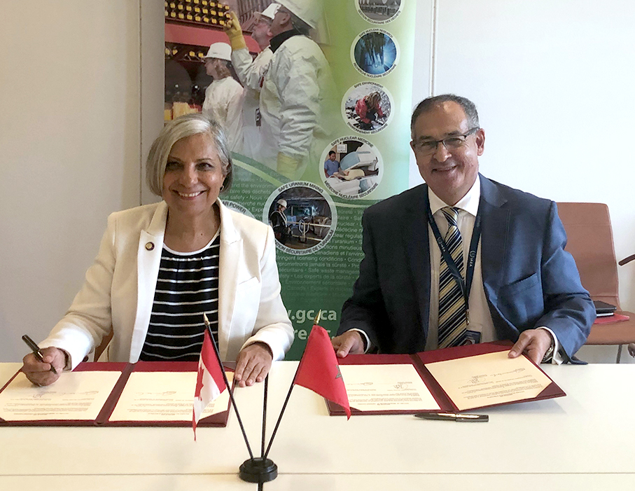 CNSC President Rumina Velshi (left) and Dr. Khammar Mrabit (right), Director General of the Moroccan Agency for Nuclear and Radiological Safety and Security